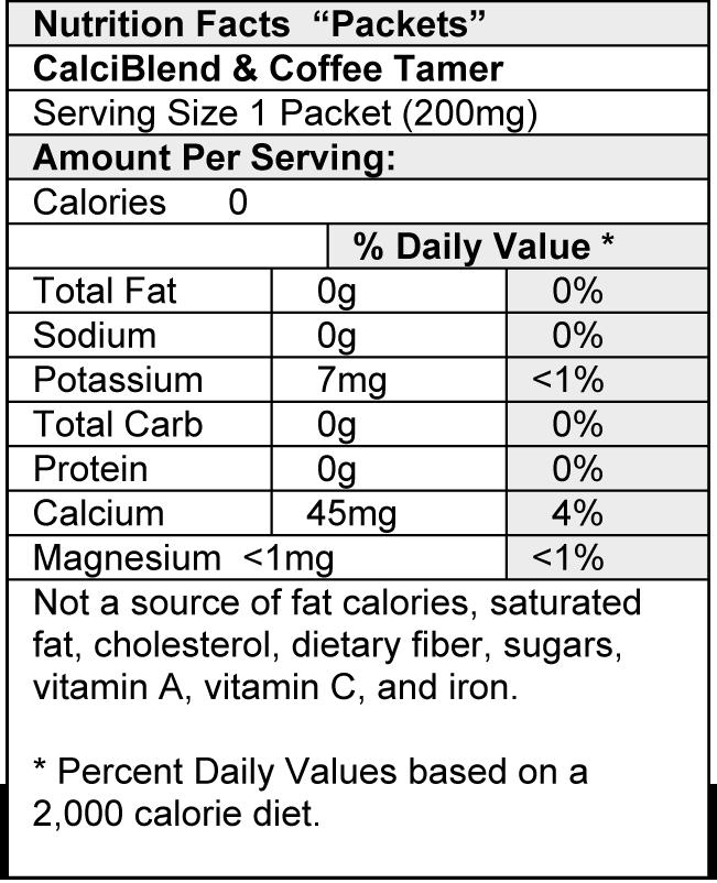 Coffee Tamer Nutrition