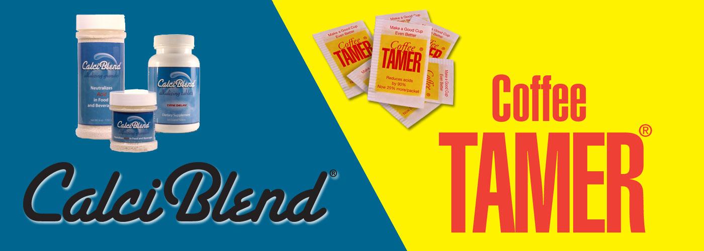 CalciBlend & Coffee Tamer logos